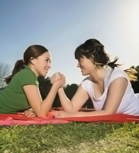 Two Women Arm Wrestling